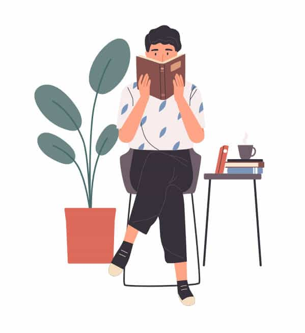 A drawing of a person sitting down reading a book and holding it close to their face with both hands