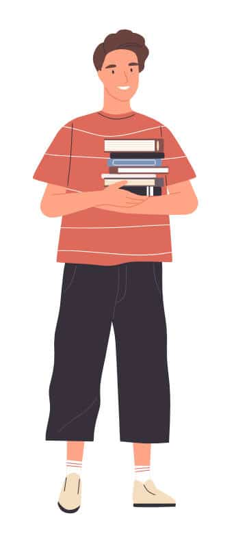 A digital drawing of a guy holding several books in his arms