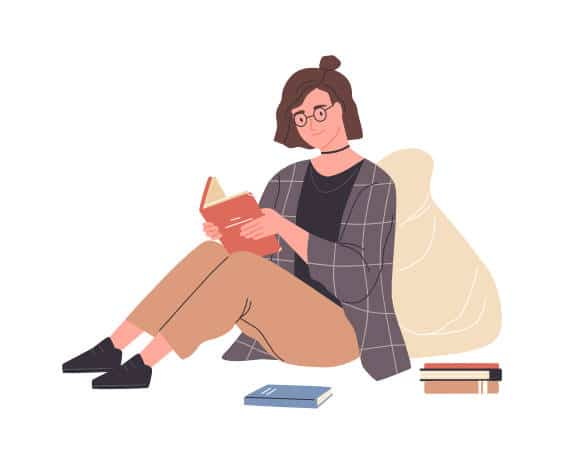 A digital drawing of a young woman sitting down with her knees up holding and reading a book