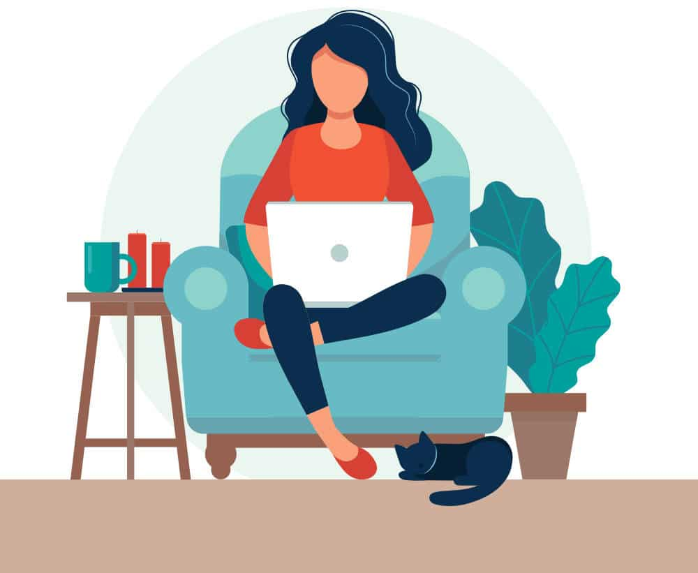 a vecto graphic showing a woman sitting on her couch writing blogs on her laptop