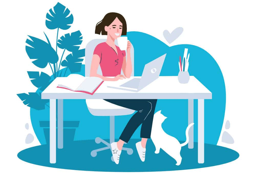 a graphic depicting a young woman making money from writing blogs sitting at her desk with a laptop